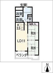 青雲鹿子マンション[1階]の間取り