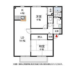大阪府和泉市三林町の賃貸アパートの間取り