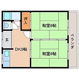 奈良県奈良市秋篠新町の賃貸アパートの間取り