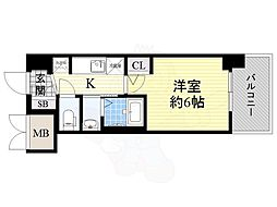 JR大阪環状線 今宮駅 徒歩6分の賃貸マンション 2階1Kの間取り