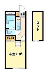 神奈川県川崎市宮前区菅生3丁目の賃貸アパートの間取り