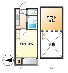 愛知県名古屋市昭和区菊園町5丁目の賃貸アパートの間取り