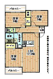 福岡県北九州市八幡西区大平1丁目の賃貸マンションの間取り