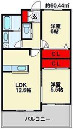 メゾン・ド・ソレイユ 4階2LDKの間取り