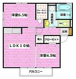 フローラ相田[201号室]の間取り