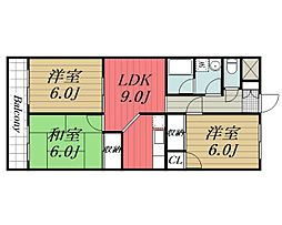 JR総武本線 四街道駅 バス7分 鹿放ケ丘遠近下車 徒歩6分の賃貸アパート 1階3LDKの間取り