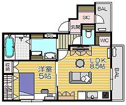 アスピラシオンJR尼崎フロント[302号室]の間取り