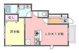 千葉県習志野市実籾2丁目の賃貸アパートの間取り