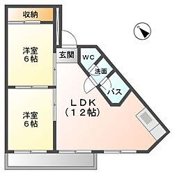 愛知県稲沢市小沢3丁目の賃貸マンションの間取り