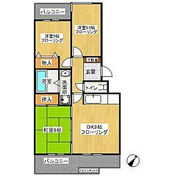 名瀬東ハイツ[3階]の間取り