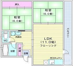 JR仙石線 宮城野原駅 徒歩18分の賃貸マンション 3階2LDKの間取り