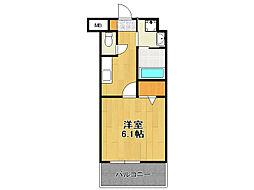 福岡市地下鉄空港線 赤坂駅 徒歩8分の賃貸マンション 2階1Kの間取り