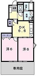 兵庫県明石市魚住町住吉2丁目の賃貸アパートの間取り