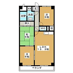 コスモス覚王山[3階]の間取り