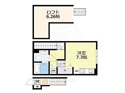 名古屋市営名港線 日比野駅 徒歩15分の賃貸アパート 2階ワンルームの間取り