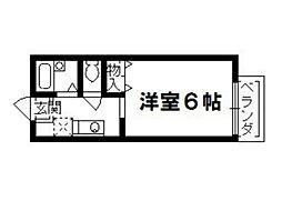 京都府京都市北区上賀茂深泥池町の賃貸アパートの間取り