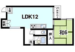 奈良県奈良市富雄元町1丁目の賃貸マンションの間取り