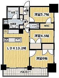 ライトテラス新宿御苑 13階3LDKの間取り