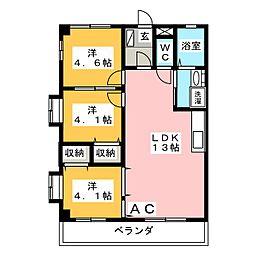 愛知県岡崎市中島町字井ノ上の賃貸アパートの間取り