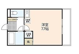 プレジャーコーポ三宅 1階ワンルームの間取り