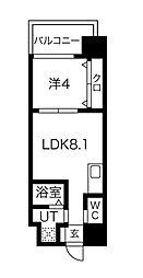 FDS AZUR 4階1LDKの間取り