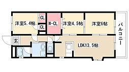 愛知県名古屋市天白区菅田2丁目の賃貸マンションの間取り
