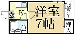 京都府京都市左京区一乗寺清水町の賃貸マンションの間取り