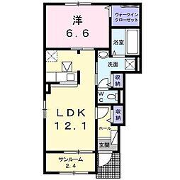 長野県松本市両島の賃貸アパートの間取り