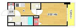 レオンヴァリエ大阪ベイシティ 7階1Kの間取り