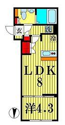 都営浅草線 本所吾妻橋駅 徒歩2分の賃貸マンション 3階1LDKの間取り