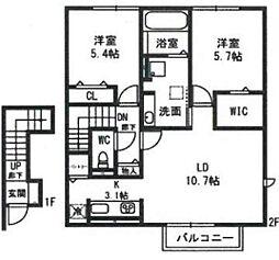 ルミエールK VI[2階]の間取り