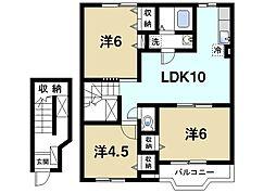 奈良県磯城郡田原本町大字新町の賃貸アパートの間取り