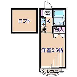 神奈川県横浜市鶴見区上の宮1丁目の賃貸アパートの間取り