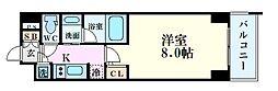 QCフラット北堀江 5階1Kの間取り