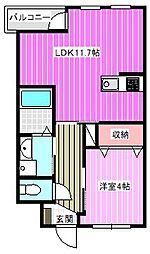 近鉄橿原線 新ノ口駅 徒歩11分の賃貸アパート 1階1LDKの間取り