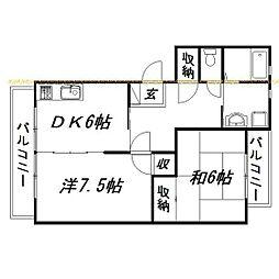 静岡県浜松市東区安新町の賃貸マンションの間取り