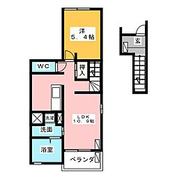 フレスクーラA[2階]の間取り
