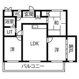 愛知県日進市岩崎台4丁目の賃貸マンションの間取り