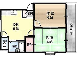 マンションハシモト 4階2DKの間取り