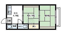牟田口ハイツ 2階2DKの間取り