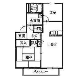 """モンラウ""""ィ青山[202号室号室]の間取り"""