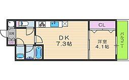 シャルマンフジ天神橋 12階1DKの間取り