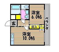 グランツ西古松II[4階]の間取り