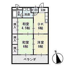 リバーイースト浅井 1階[102号室]の間取り