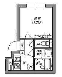 JR中央線 阿佐ヶ谷駅 徒歩15分の賃貸マンション 2階1Kの間取り