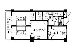 福岡県北九州市小倉北区足立3丁目の賃貸マンションの間取り