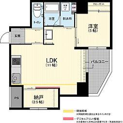 Laughterラフター 8階1SLDKの間取り