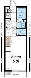 小田急江ノ島線 本鵠沼駅 徒歩1分の賃貸アパート 3階1Kの間取り