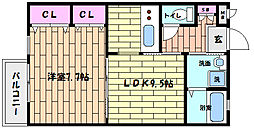 兵庫県神戸市灘区国玉通3丁目の賃貸アパートの間取り