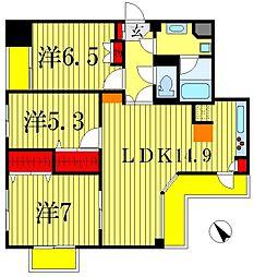 プロミネント松戸[2階]の間取り